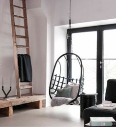 simple but cool.. rockingchair on the ceiling <3