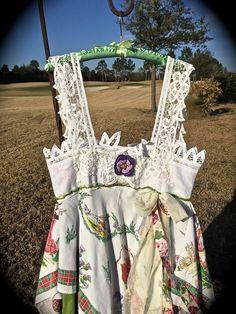 Bohemian Romantic Scottish Dress/Top Handkerchief Silhouette Vintage Motifs Rustic Unique Clothing by IzzyRoo on Etsy
