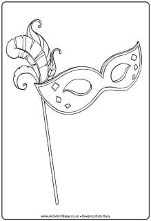 Mardi Gras mask colouring page, coloring page