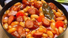 Fazuľa s klobásou a dusenou zeleninou! Rýchla dobrota pre celú rodinu! Vynikajúce! | Báječná vareška Potato Pancakes, Pretzel Bites, Pot Roast, Sausage, Beans, Potatoes, Healthy Recipes, Vegetables, Cooking