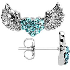 Glitzy Glamour Winged Heart Crystalline and Aqua Gem Stud Earrings | Body Candy Body Jewelry