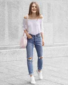 Summer Outfit - Off the Shoulder Top, Blue Jeans & White Sneakers