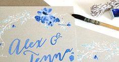 River Fabric faire part sur mesure mariage-aquarelle-fleur-bleu-créatif-personnalisé-boheme