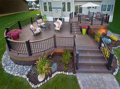 Small backyard patio ideas on a budget backyard deck ideas two level backyard two level backyard . small backyard patio ideas on a budget patio deck Backyard Patio Designs, Backyard Landscaping, Backyard Decks, Patio Ideas, Back Deck Ideas, Landscaping Around Deck, Landscaping Ideas, Deck Layout Ideas, Backyard Deck Ideas On A Budget