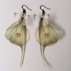 Perfect for beautiful fairy costume!  I Will Fly Away - Luna Moth (Actias Luna) Butterflies and Wings Earrings - Silk Organza - Made to Order, the Butterfly shop