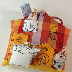 "Polštář ... DOMEK ""U PANÍ KOZY"" Doll Toys, Dolls, My Works, Panama, Sewing Crafts, Diaper Bag, Gift Wrapping, Pillows, Holiday Decor"