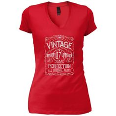 Vintage Aged To Perfection 1974 - 44th Birthday Gift T-shirt
