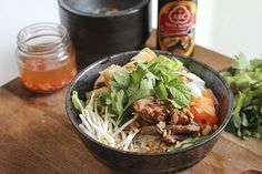 Vietnamese Grilled Pork Noodle Bowl with Spring Rolls » The Wooden Spoons