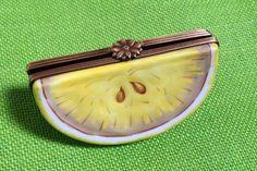 Limoges Trinket Box Lemon Wedge Fruit Rochard France Ring Flower Clasp Porcelain