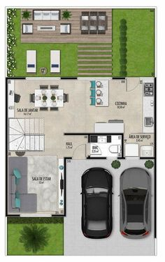 New Home Architecture Exterior House Plans Layout Ideas Duplex House Plans, Dream House Plans, Modern House Plans, Small House Plans, Home Design Plans, Plan Design, Small Villa, Narrow House, House Blueprints