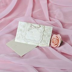 Wedding Invitation With Ribbon Bowknot- Set of 50 – EUR € 28.87