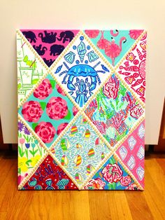 Hand painted masterpiece is complete! 12 different Lilly Pulitzer prints in one canvas! Painted Lilly canvas. With pearls! DIY. Taylorstorrer.