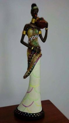 African Figurines, Fairy Statues, African Paintings, African Dolls, African Sculptures, Clay Art Projects, Africa Art, Black Artwork, African American Art