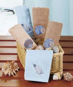 #730392032 5 PC Seashell Themed Washcloth Set by sensationaltreasures