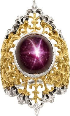 Star ruby and yellow and white gold ring - . Buccellati