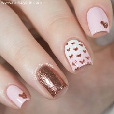 Rose Gold Disney Nail Art - Mickey Mouse Rose Gold Glitter Nails - Gorgeous Rose Gold Nails Perfect For Summer -Rose Gold Nail Polish, Rose Gold Chrome Nails, Rose Gold Glitter, Rose Gold Gel Nails Gold Nail Art, Rose Gold Nails, Pink Nails, My Nails, Nail Art Rose, Gold Art, Nail Art Diy, Easy Nail Art, Glitter Nails