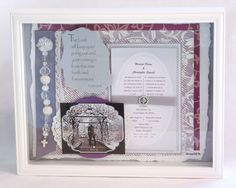Wedding Gift. Lavender and Silver. 12 x 12 Shadow Box.