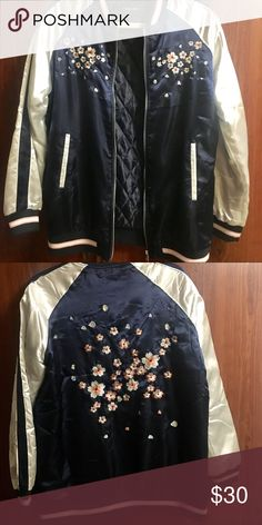 Navy blue jacket with floral embroidery (NWOT) A navy blue jacket with floral embroidery. It has never been worn. New without tag. Love Culture Jackets & Coats