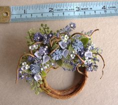 Dollhouse Miniature Blue Crysanthemums, Hydrangea and Petunia Wreath by DEVINEMINIATURESSHOP on Etsy https://www.etsy.com/listing/120912605/dollhouse-miniature-blue-crysanthemums