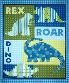 If it's a boy?  Dino Roars Flannel Quilt Panel Blue