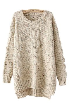 High Low Hem O-neck Long Sleeves Loose Sweater