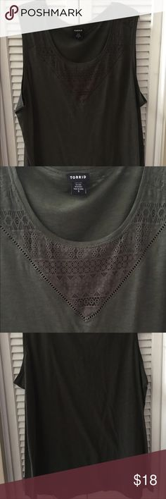 ‼️Price Drop‼️Torrid -Green tank w/ crochet detail Torrid - NWOT '3' (22/24 Plus) Cotton/Modal blend Army green tank with crochet detail. Relaxed fit and super soft! Tried it on and removed the tags once I got it home but I never wore it. Make me an offer or bundle and save!! 🤑 torrid Tops Tank Tops