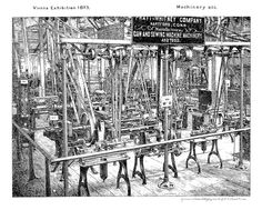 Pratt & Whitney display at the Vienna Exhibition (1873) featured a single engine powering any number of tools all connected by leather belts. One major power or drive system to control many tools and machines