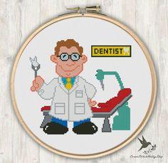 Dentist, Modern Cross Stitch Pattern, Needlecraft by CrossStitchHobbyShop on Etsy