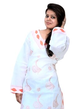 long orange patches chiken kurti from lucknow. You can visit www.troverna.com to shop on cash on delivery