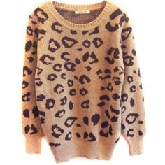 Sueter Vintage Estampa Leopardo - Marrom/Cinza Suéters e Moletons
