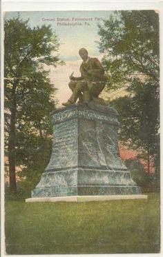 DREXEL STATUE Fairmount Park Phil, Pa Hugh C Leighton Co Vintage Postcard