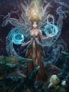 Fantasy Art Engine — Female Water Dragon by Pengyinfan Dark Fantasy Art, Fantasy Artwork, Fantasy Art Women, Beautiful Fantasy Art, Fantasy Girl, Dark Art, Digital Art Fantasy, Fantasy Creatures, Mythical Creatures