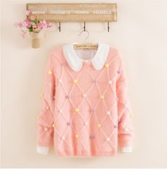 "Japanese kawaii candy color sweater pastel pink at sanrense.com use the coupon code ""krissykitty"" to get 10% off your purchase"