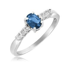 $19.99 - 1 Carat Blue Sapphire & White Topaz Sterling Silver Ring
