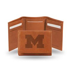 Michigan Wolverines Leather Embossed Trifold Wallet