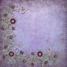 Purple flowers, butterflies and soft purple background. Printable Scrapbook Paper, Printable Paper, Purple Backgrounds, Wallpaper Backgrounds, Watercolor Card, Nature Paper, Paper Frames, Writing Paper, Book Of Shadows