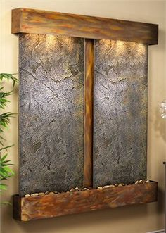 Cottonwood Falls Wall Fountain with Green Featherstone in Rustic Copper Tabletop Fountain, Indoor Fountain, Spa Interior, Interior Exterior, Indoor Waterfall, Wall Waterfall, Garden Fountains, Wall Fountains, Indoor Water Features