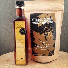 Pancake Gift Set | $25. This gift includes an organic, traceable 16oz pancake mix and an 8.5oz bottle of NY grade A Maple syrup. Available at: manykitchens.com