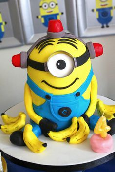 Amazing Minion cake at a Despicable Me birthday party! See more party ideas at CatchMyParty.com!