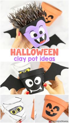 Halloween is coming. Are you ready for Halloween decorations? Look at the Clay Pot Halloween crafts I prepared for you today. Clay Pot are much more than simple potted plants. You can make any ordinary pot into an interesting and eye-catching Clay P Dulceros Halloween, Halloween Arts And Crafts, Halloween Crafts For Toddlers, Fall Crafts, Holiday Crafts, Halloween Decorations For Kids, Nature Crafts, Clay Crafts For Kids, Clay Pot Crafts