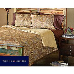 @Overstock - This comforter set from Tommy Hilfiger showcases a luxurious paisley print in bronze with touches of blue and red accents. This comforter is finished with an elegant bound-bronze border and jump-and-tack stitching that gives a plump, soft touch.http://www.overstock.com/Bedding-Bath/Tommy-Hilfiger-Royal-Safari-3-Piece-King-Size-Comforter-Set/5141068/product.html?CID=214117 $86.99