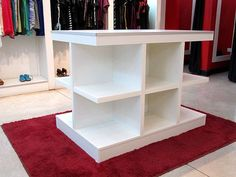 Island for white melamine clothing stores West Zone Federal Capital Clothing Store Interior, Clothing Store Displays, Clothing Stores, Boutique Interior Design, Boutique Decor, Dressing Design, Shoe Store Design, Store Layout, Store Interiors