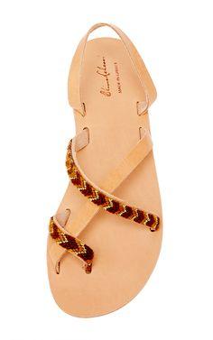 Leather & Warm Toned Cotton Eleni In Warm Tones Sandal by ELINA LEBESSI for Preorder on Moda Operandi