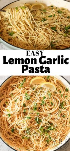Thin Spaghetti, lemon, parsley and parmesan make this Easy Lemon Garlic Pasta a simple meal or delicious side dish! Ready in under 20 minutes…. spaghetti recipe Easy Lemon Garlic Pasta with Parsley and Parmesan - Feeding Your Fam Spaghetti Sides Dishes, Pasta Side Dishes, Pasta Sides, Food Dishes, Main Dishes, Easy Pasta Recipes, Spaghetti Recipes, Easy Dinner Recipes, Easy Meals
