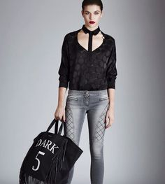 """casual look, perfect for walking around the city in these rainy days.  Skinny jeans """"Golbey"""", decoupé fabric blouse """"Gladbeck"""", and maxi leather bag """"Dark"""" total look available on our shop online."""