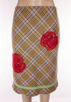 ESCADA SPORT Size 36 S Small Multi Color Crystal Tartan Flower #ESCADASport #ALine