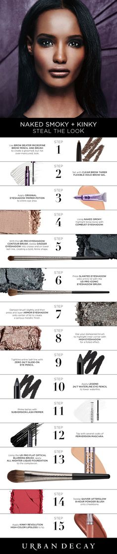 Looking to pull an all nighter? Here are 15 steps on how to get the perfect Naked Smoky look that's sure to last you all day and night! (Best Eyeliner High End) Beauty Makeup Tips, Love Makeup, Makeup Inspo, Makeup Inspiration, Makeup Looks, Makeup Ideas, Urban Decay Eyeshadow, Urban Decay Makeup, Eyeshadow Looks