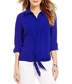 Allison Daley Tie Button Front Blouse #Dillards