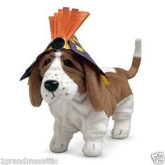 American-Girl-Kits-Dog-Grace-w-Party-Hat-NIB-Basset-Hound-Birthday-Retired