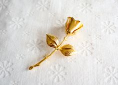 Gold Rose Brooch, Vintage Flower Pin, Costume Jewelry